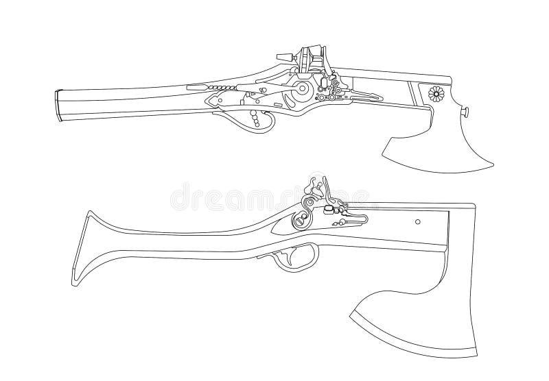 Vectorbeeldverhaalhand getrokken reeks van het uitstekende flintlock pistool en wapen van de strijdbijlcombinatie stock illustratie