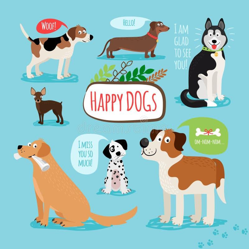 Vectorbeeldverhaalhonden royalty-vrije illustratie