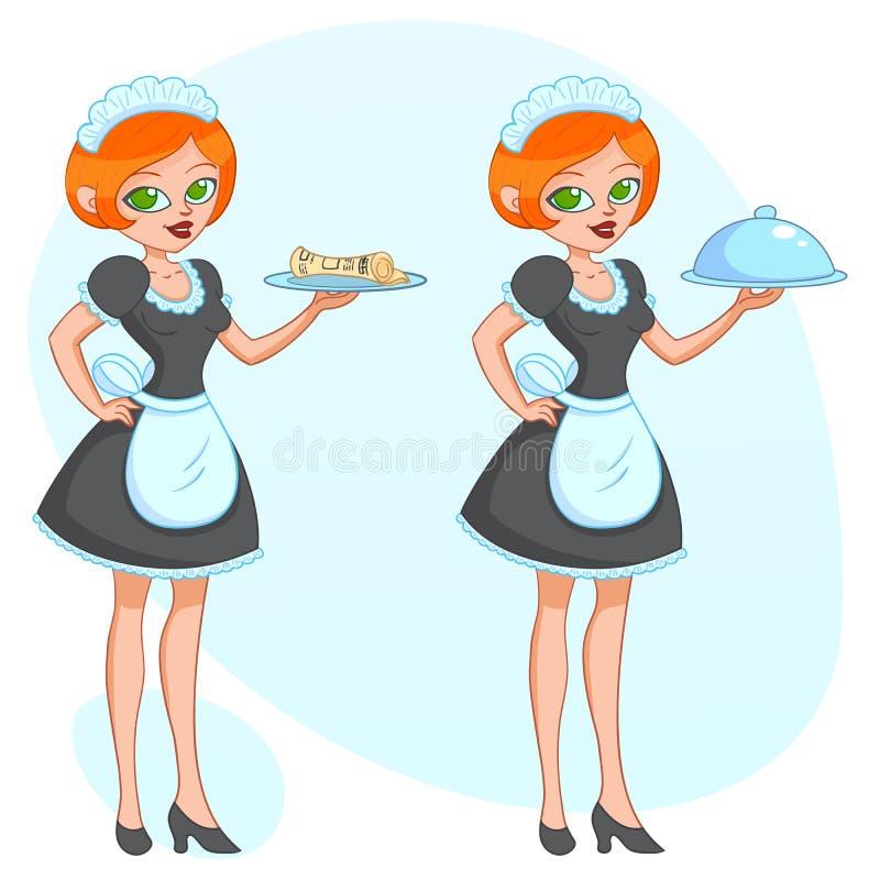 Vectorbeeldverhaalillustratie - het Mooie leuke grappige meisje van de meisjesserveerster brengt de ordekrant stock illustratie