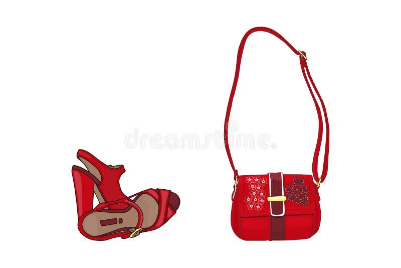 Vectorbeeldverhaalillustratie - sandals van vrouwen en de zak van de Dame vector illustratie
