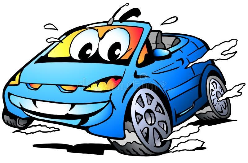 Vectorbeeldverhaalillustratie van een blauwe Sportwagenmascotte die in volledige snelheid rent stock illustratie