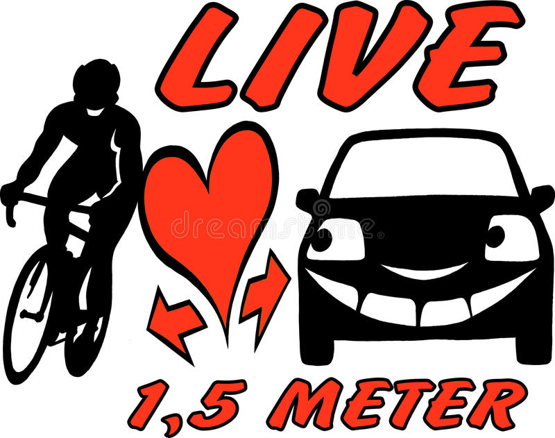 Vectorbeeldverhaalillustratie van een fietser en een auto om in het verkeer bewust en attent te zijn royalty-vrije illustratie