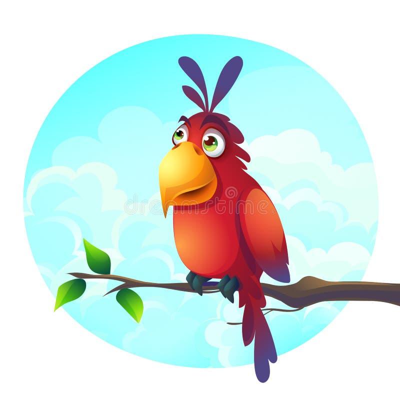 Vectorbeeldverhaalillustratie van een grappige papegaai op een tak royalty-vrije illustratie