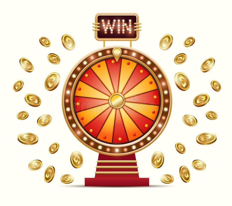 Vectorbeeldverhaalillustratie van een het gloeien wielfortuin of een geluk en gouden muntstukken vector illustratie