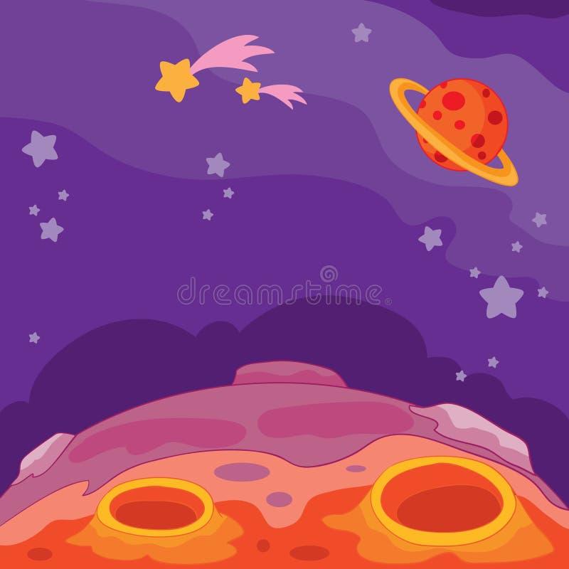 Vectorbeeldverhaalillustratie van een onbekende fantastische planeet, vreemd heelal royalty-vrije illustratie