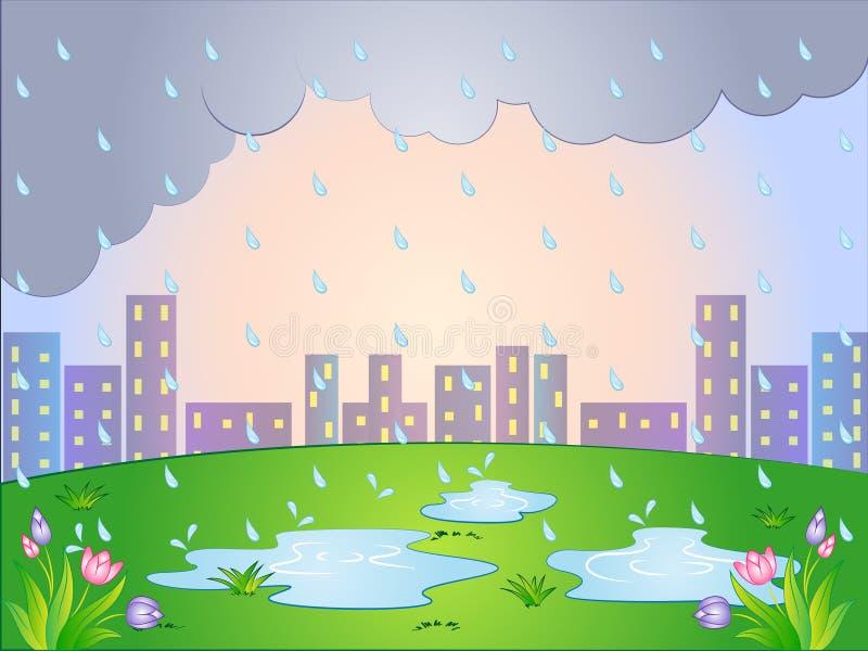 Vectorbeeldverhaalillustratie van een Regenachtige Dag royalty-vrije illustratie