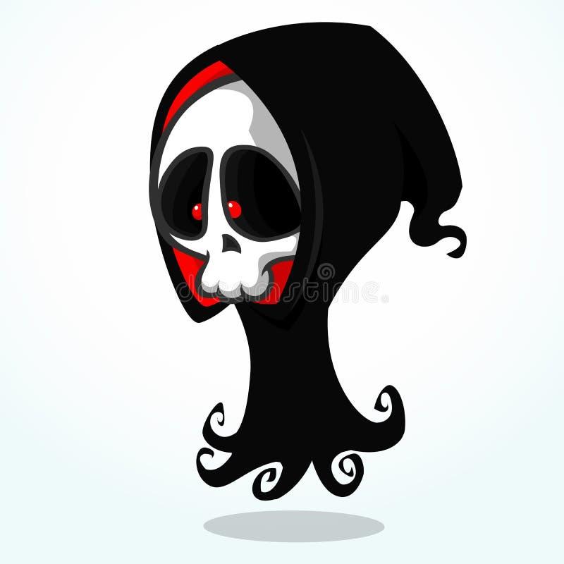 Vectorbeeldverhaalillustratie van griezelige Halloween-dood, skeletkarakter royalty-vrije illustratie