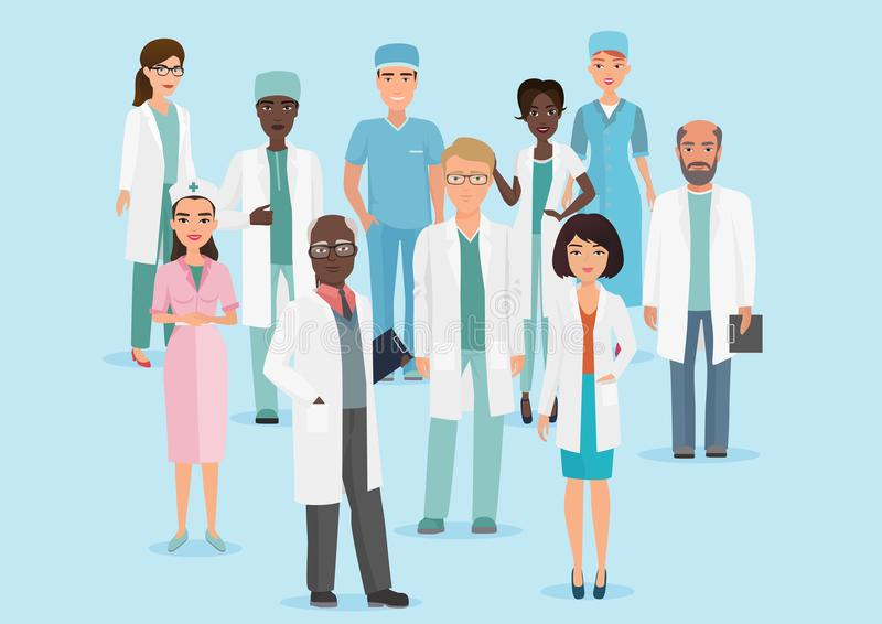 Vectorbeeldverhaalillustratie van het teamartsen en verpleegsters van het het Ziekenhuis medische personeel stock illustratie