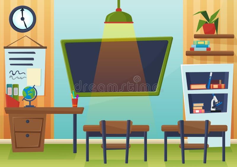 Vectorbeeldverhaalillustratie van leeg schoolklaslokaal met bord en bureaus stock illustratie