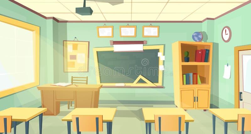 Vectorbeeldverhaalillustratie van schoolklaslokaal stock illustratie