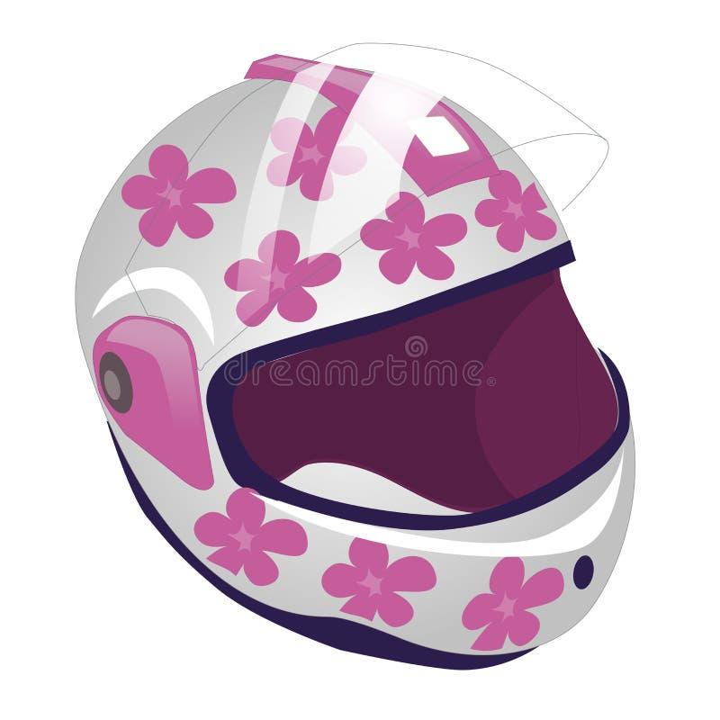 Vectorbeeldverhaalillustratie van sporthelm voor rolschaatsen Wit in roze bloem royalty-vrije illustratie