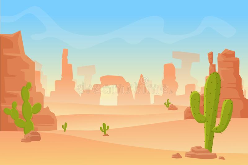 Vectorbeeldverhaalillustratie van Westelijk Texas of Mexicaans woestijnsilhouet De wilde westelijke scène West- van Amerika met royalty-vrije illustratie