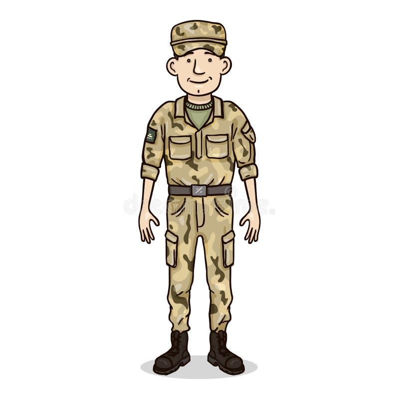 Vectorbeeldverhaalkarakter - Jonge Mens in Militaire Eenvormig Militair, de Dienstmens royalty-vrije illustratie