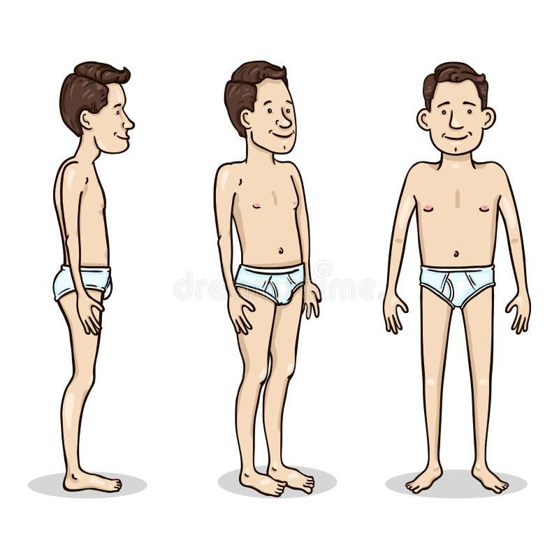 Vectorbeeldverhaalkarakter - Jonge Mens in Witte Onderbroek Reeks van het verschillende verkort tekenen vector illustratie