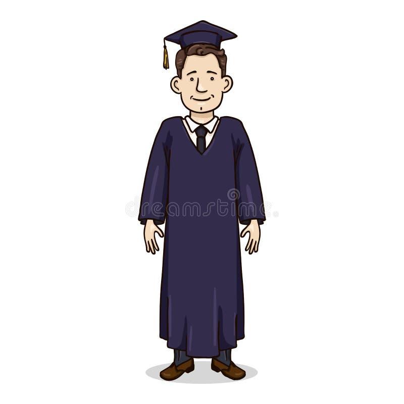 Vectorbeeldverhaalkarakter - Witte Jonge Mens in Graduatietoga en Hoed vector illustratie