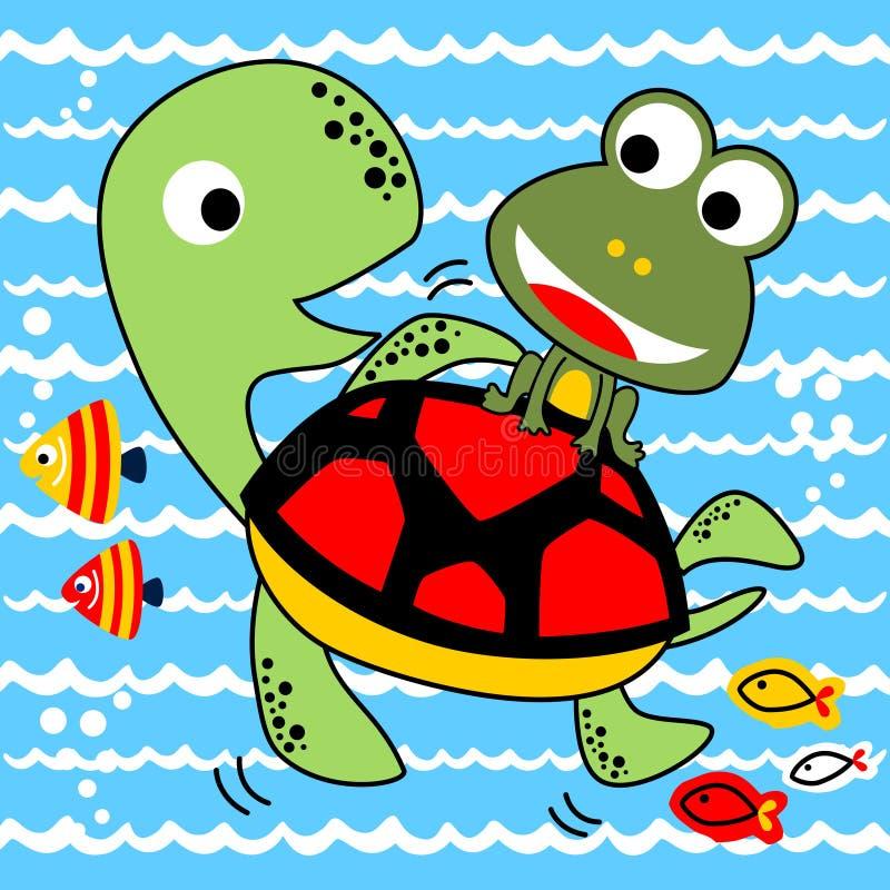 Vectorbeeldverhaalkikker en schildpad onderwater royalty-vrije illustratie
