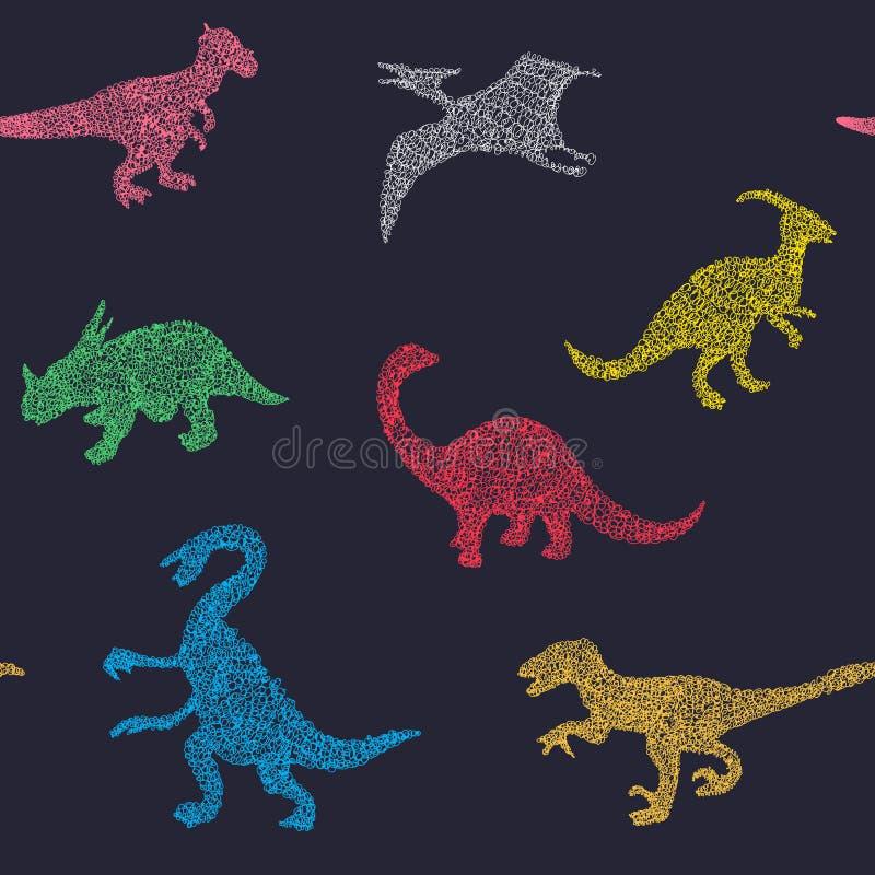 Vectorbeeldverhaalpatroon van kleurrijk verschillend dinosaurussilhouet vector illustratie