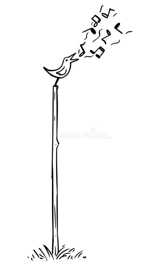 Vectorbeeldverhaaltekening van het Kleine Vogel Zingen op de Pool royalty-vrije illustratie