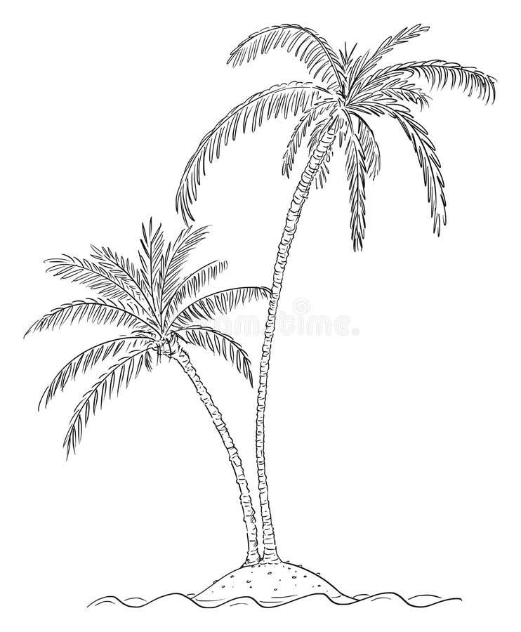 Vectorbeeldverhaaltekening van Twee Palmen op Klein Eiland in Oceaan vector illustratie
