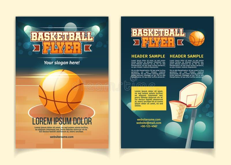 Vectorbeeldverhaalvliegers om op basketbalspel uit te nodigen stock illustratie