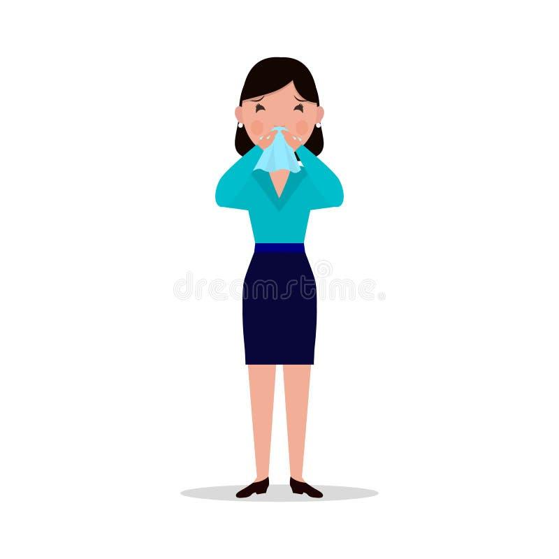 Vectorbeeldverhaalvrouw gevangen koude, niesgeluid, zieke griep royalty-vrije illustratie