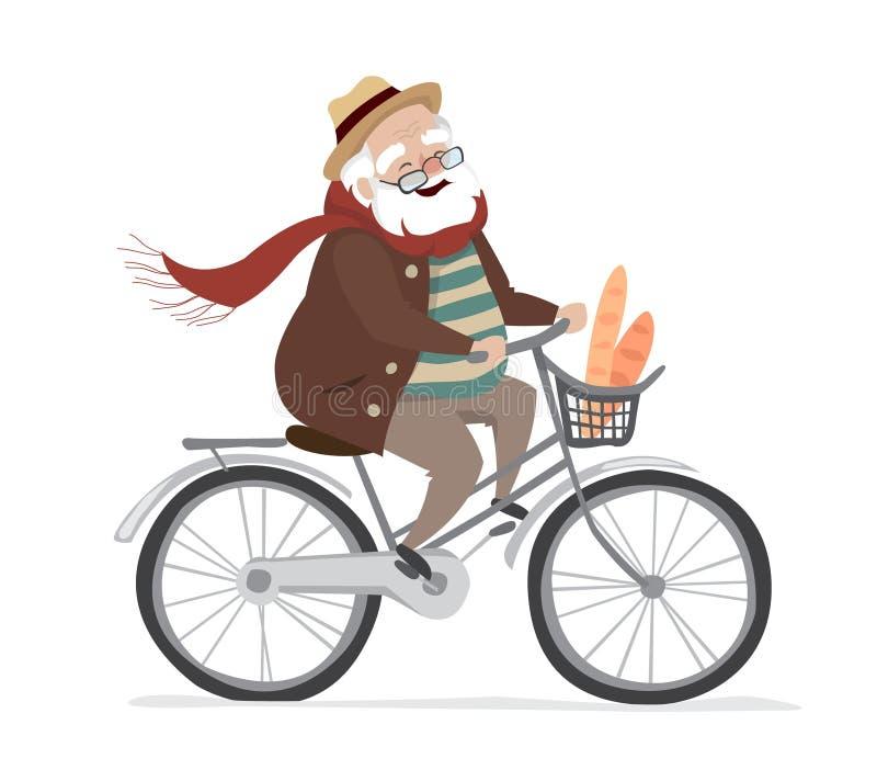 Vectorbejaarde op een fiets Het bejaarde uitoefenen Vlakke beeldverhaal vectorillustratie royalty-vrije illustratie