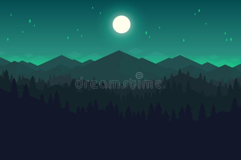 Vectorberg en meest forrest landschap in de nacht stock illustratie