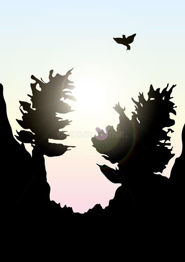 Vectorbergen en boslandschap vroeg de zonsondergang stock illustratie