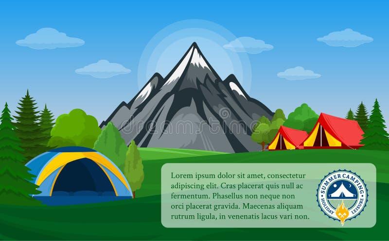 Vectorbergen het kamperen horizontale banner stock illustratie