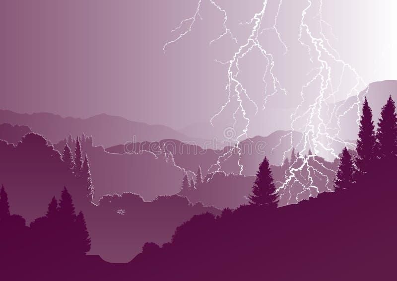 Vectorberglandschap en onweersbui vector illustratie