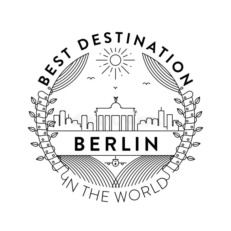 Vectorberlin city badge, Lineaire Stijl stock illustratie