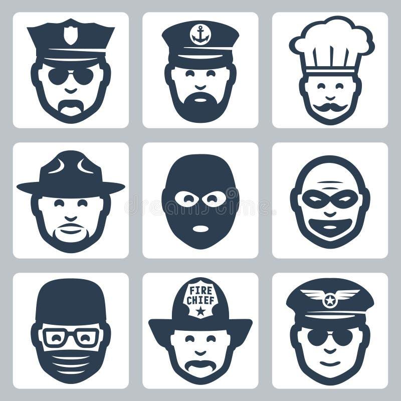 Vectorberoep/beroeps geplaatste pictogrammen stock illustratie