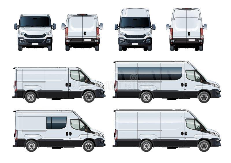 Vectorbestelwagens geplaatst die malplaatje op wit wordt geïsoleerd vector illustratie