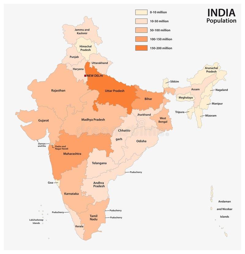 Vectorbevolkingskaart van de republiek van India vector illustratie