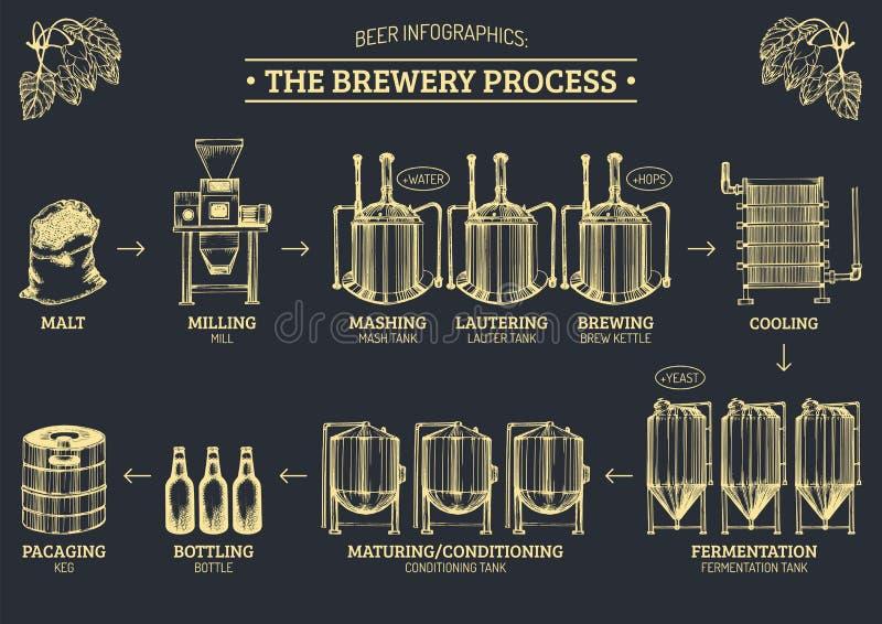 Vectorbierinfographics met illustraties van brouwerijproces Aal die ontwerp veroorzaken Lagerbierproductie geschetste regeling royalty-vrije illustratie