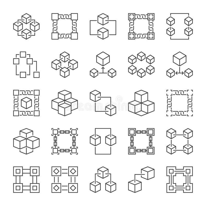 Vectorblockchain-geplaatste het conceptenpictogrammen van het Technologieoverzicht vector illustratie