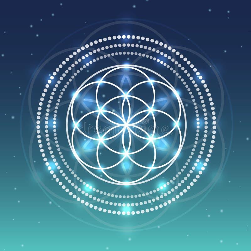Vectorbloem van het Levenssymbool op Hemel met Sterrenillustratie vector illustratie