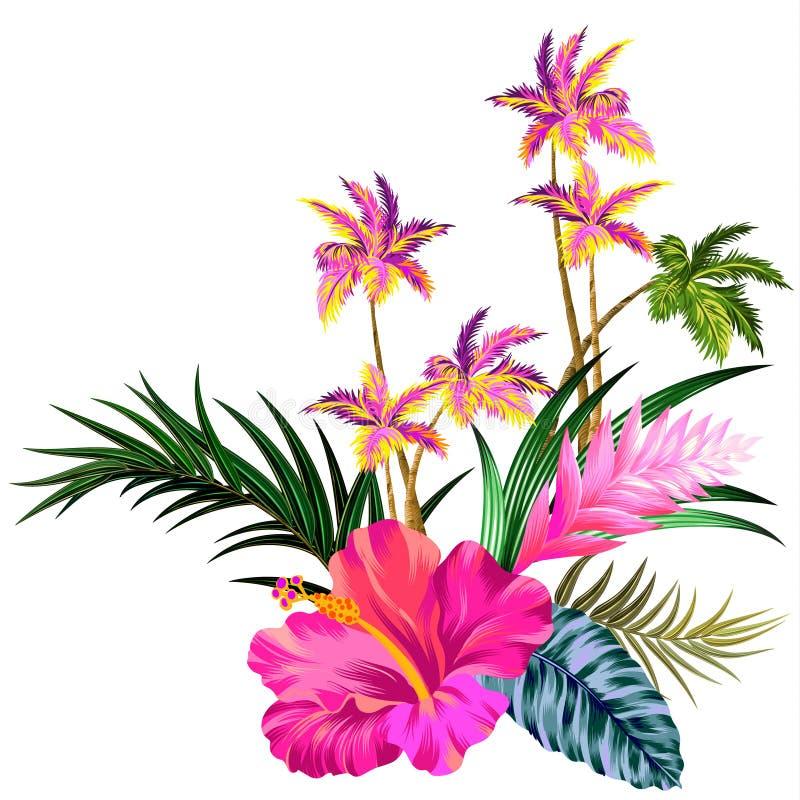 Vectorbloemen en palmen royalty-vrije illustratie