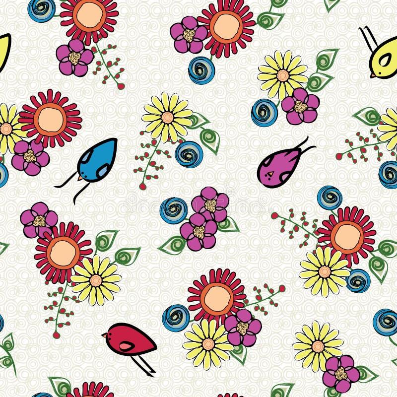 Vectorbloemen en vogels in rood Blauw Geel Groen op witte achtergrond naadloos Herhaal Patroon Achtergrond voor stock illustratie