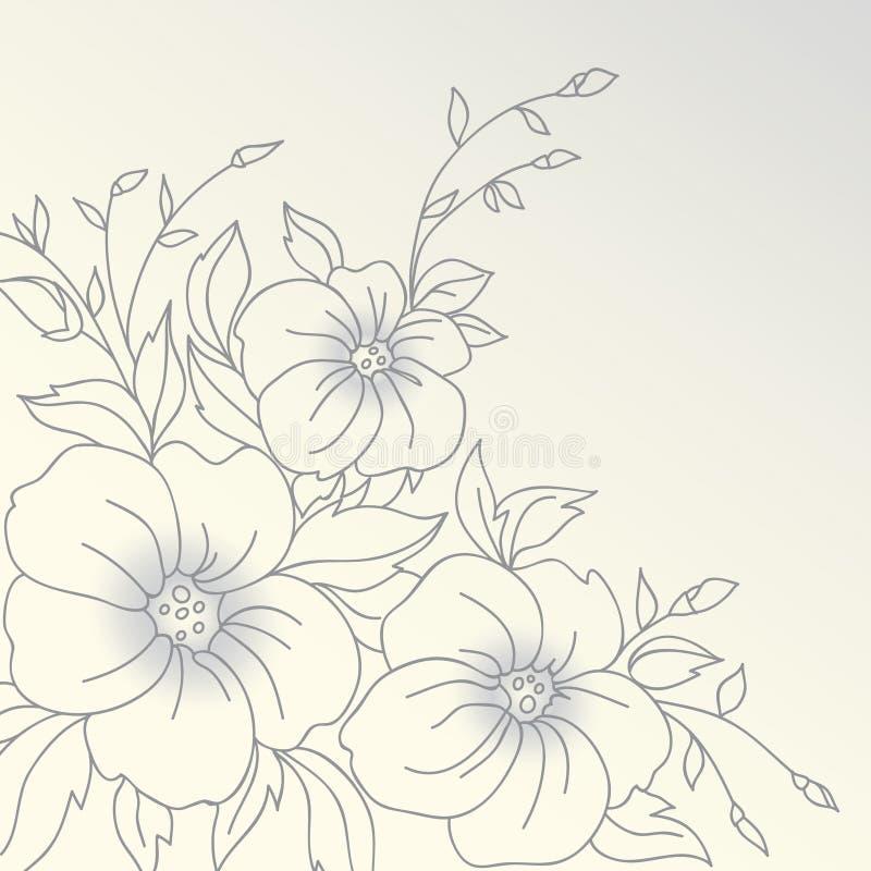 Vectorbloemen. Getrokken hand. stock illustratie
