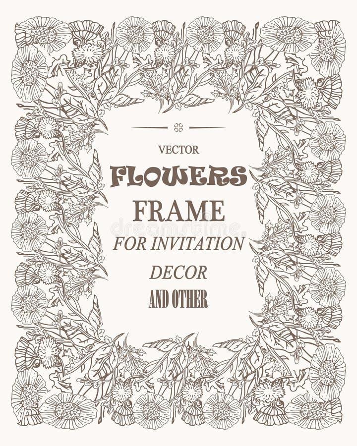 Vectorbloemen mooi kader voor foto's, decoratie en om het even welk geval vector illustratie