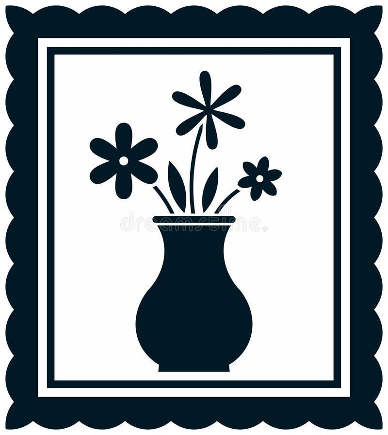 Vectorbloemen in vaasillustratie royalty-vrije illustratie