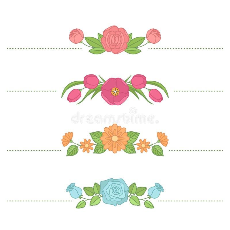 Vectorbloemreeks Ornament van rozen, pioenen, kamilles, tulp royalty-vrije illustratie