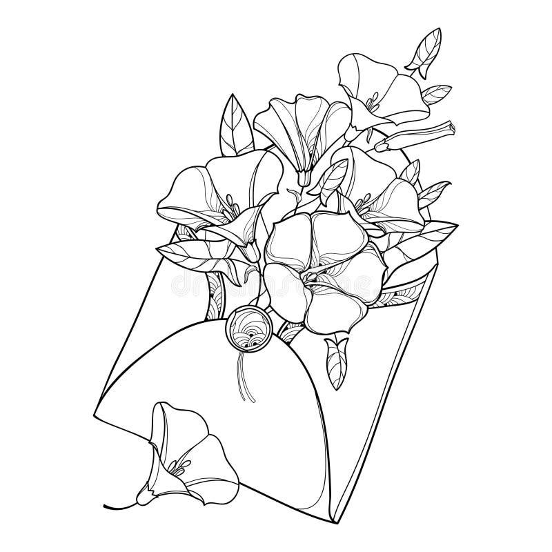 Vectorboeket met overzichtswinde of Winde, overladen blad en knop in open die ambachtenvelop in zwarte op wit wordt geïsoleerd stock illustratie