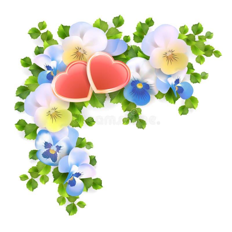 Vectorboeketbloemen, harten op witte achtergrond vector illustratie