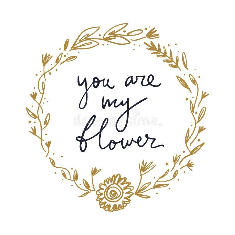 Vectorboho bloemenkader en teken Enig beeld op witte achtergrond, malplaatje vector illustratie
