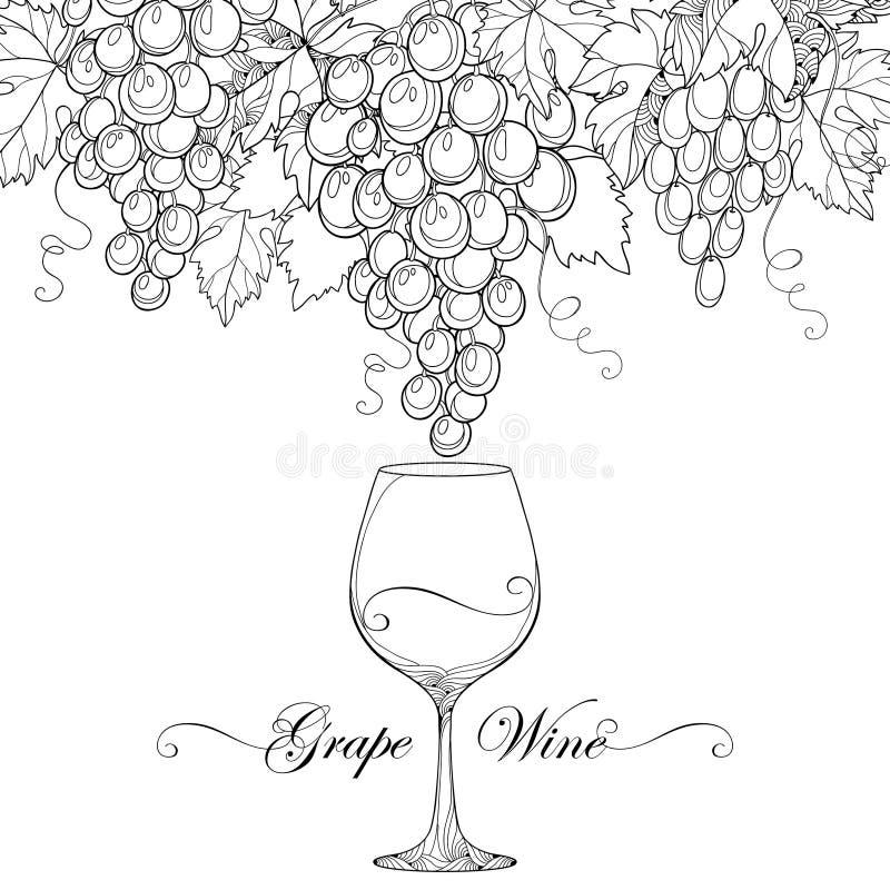 Vectorbos van druif, druivenbladeren en wijnglas stock illustratie