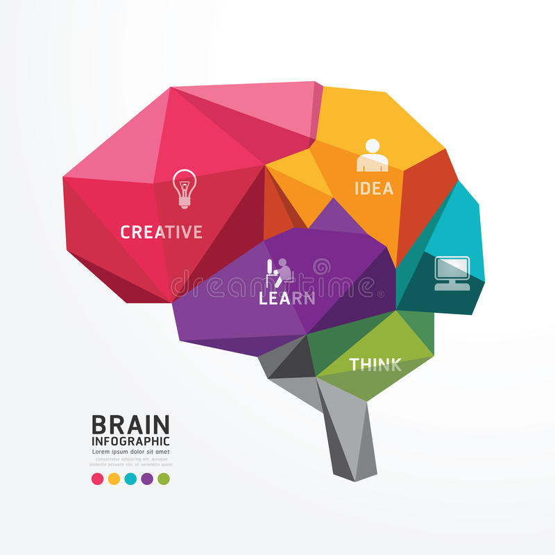 Vectorbrain design conceptual polygon style, Abstracte vector Ziek stock illustratie