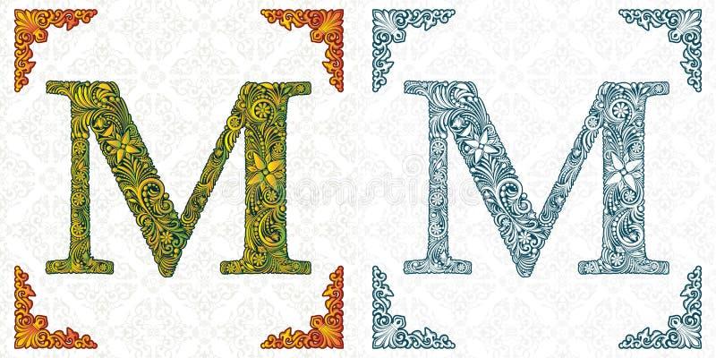 Vectorbrief M Elegante gevormde doopvont monogram Alfabet van bladornament Victoriaanse stijl handmade stock illustratie