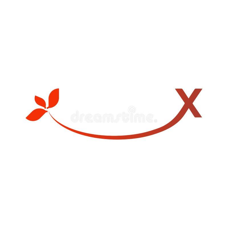 Vectorbrief x met lager eind x die en aan het eind zijn er bladeren uitbreiden zich royalty-vrije illustratie